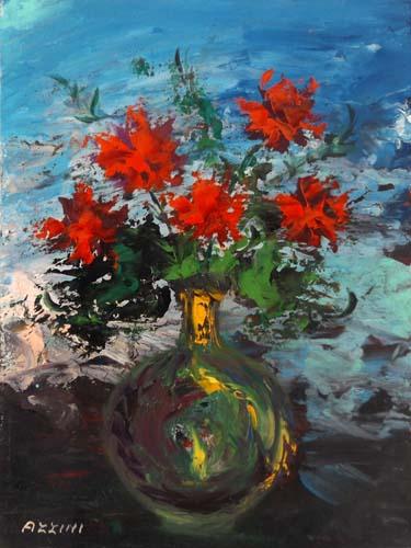 Quadro di Aldo Guglielmo Azzini Vaso di fiori - olio faesite