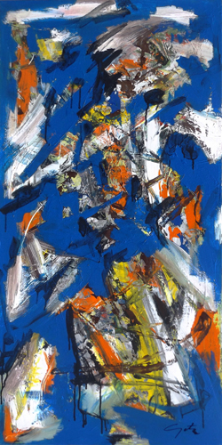 Art work by Pjeter Koleci Form in blue - mixed canvas