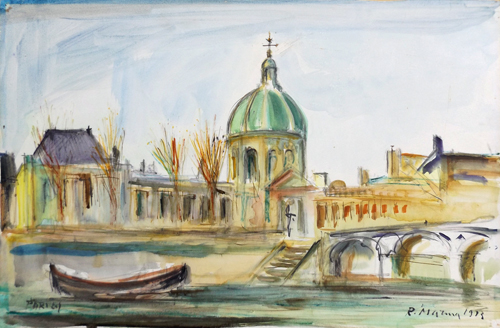 Art work by Rodolfo Marma Institut de France e Pont des Arts a Parigi - watercolor cardboard