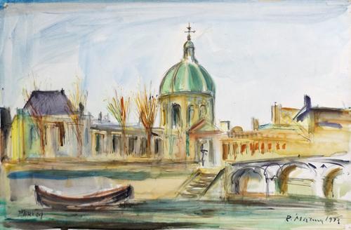 Quadro di Rodolfo Marma Institut de France e Pont des Arts a Parigi - acquerello cartone