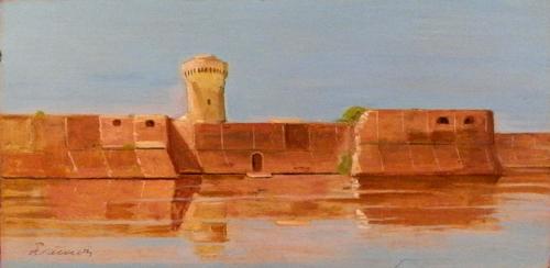 Quadro di Piero Vaccari Fortezza Vecchia a Livorno - olio tavola