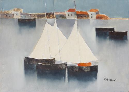 Quadro di Lido Bettarini Marina con vele, olio su tela 50 x 70 | FirenzeArt Galleria d'arte