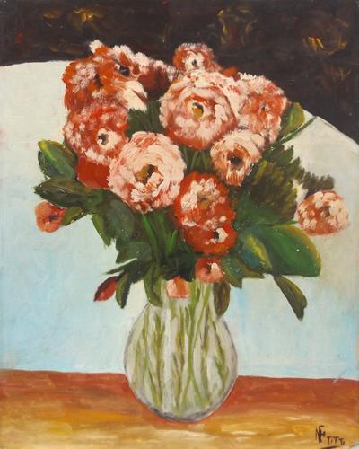 Art work by firma Illeggibile Vaso di fiori - oil table