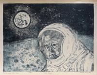 Quadro di Anna Brigida - Il primo uomo sulla luna litografia carta