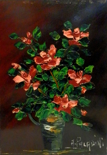 Art work by A. Paladini Rose - oil hardboard