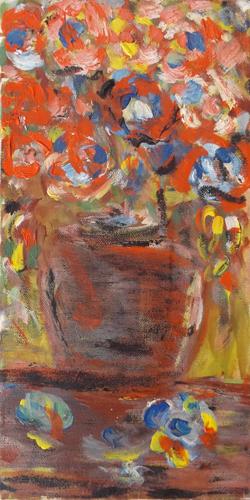 Quadro di  Anonimo Vaso di fiori - olio tela