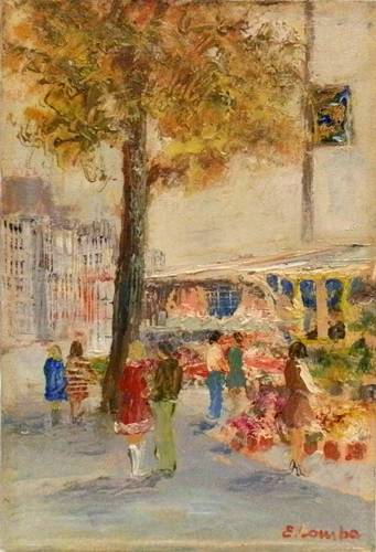 Art work by Emilio Comba Mercato di fiori - oil canvas