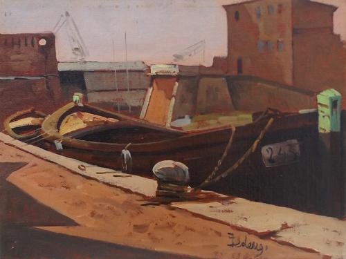 Art work by firma Illeggibile marina - oil canvas cardboard