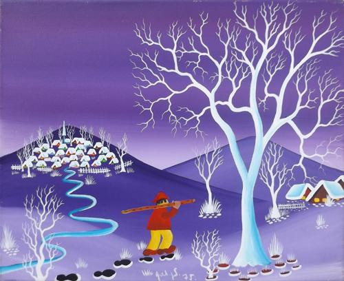 Art work by firma Illeggibile Naif - oil canvas