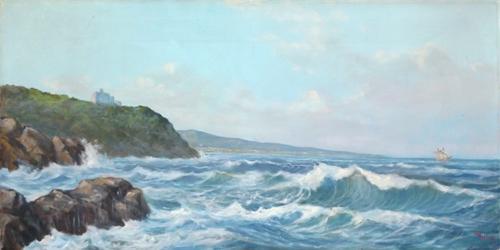 Quadro di  Millus (Mario Illusi) Marina livornese - olio tela