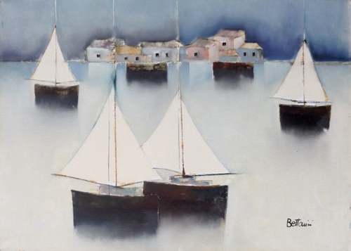 Art work by Lido Bettarini Marina d'inverno - oil canvas