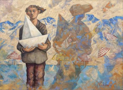 Quadro di Giampaolo Talani Il mare sul muro - olio tela