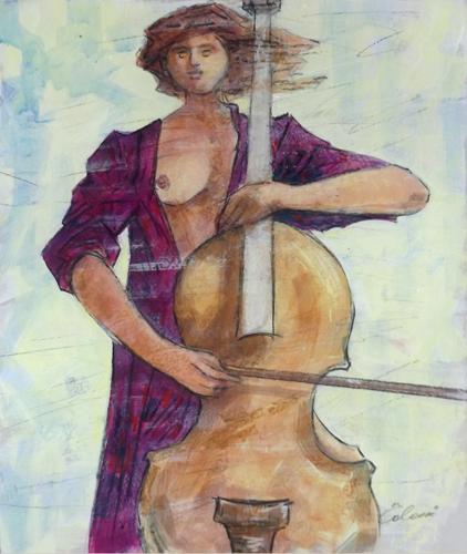 Quadro di Giampaolo Talani Violoncellista - mista cartone