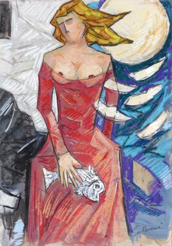 Quadro di Giampaolo Talani La donna, il pesce e la luna - mista cartone