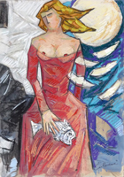 Quadro di Giampaolo Talani  La donna, il pesce e la luna
