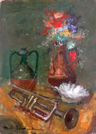 Quadro di Osman Lorenzo De Scolari Composizione - olio tavola