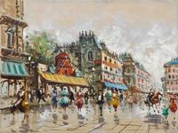 Quadro di Antonio De Vity  Moulin Rouge a Parigi