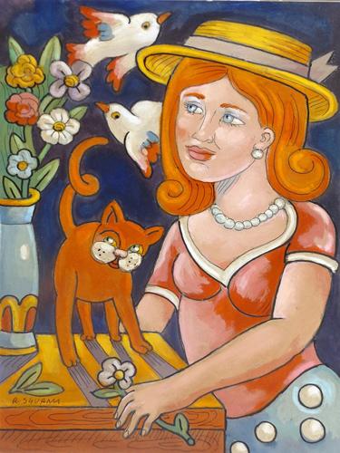 Quadro di Roberto Sguanci Fanciulla con gatto, fiori e colombe - Pittori contemporanei galleria Firenze Art