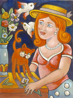 Work of Roberto Sguanci  Fanciulla con gatto, fiori e colombe