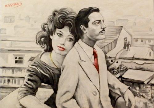 Art work by Roberto Sguanci Serie cinema - Marcello e Sofia - oil cardboard