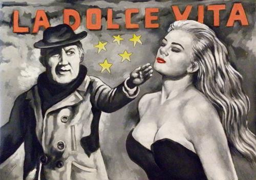 Quadro di Roberto Sguanci Serie cinema - Fellini dirige Anita Ekberg - olio cartone