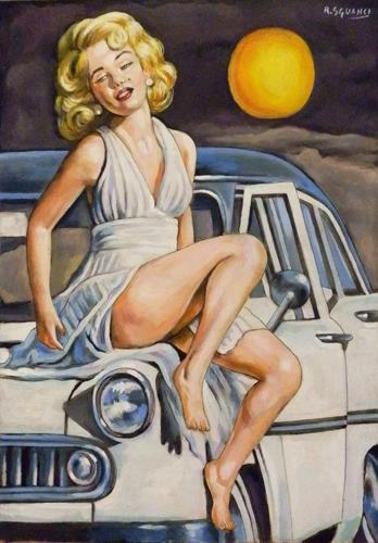 Quadro di Roberto Sguanci Serie cinema - Marilyn sull'auto - olio cartone