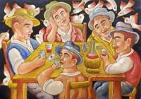 Quadro di Roberto Sguanci - Giocatori di carte acrilico cartone