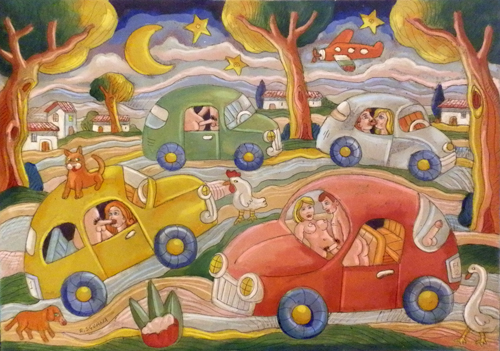 Quadro di Roberto Sguanci Serie erotica - La camporella delle 500 - olio cartone