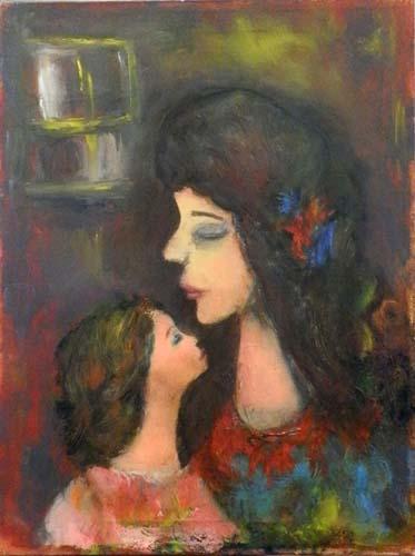 Quadro di firma Illeggibile Maternità - olio tela