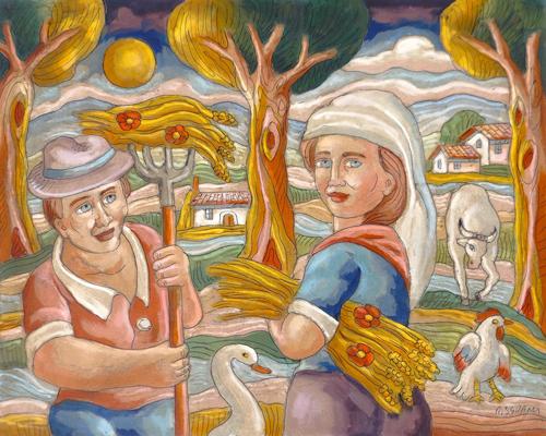 Quadro di Roberto Sguanci La raccolta del grano - acrilico cartone
