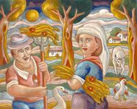 Quadro di Roberto Sguanci  La raccolta del grano