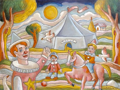 Quadro di Roberto Sguanci Arriva il circo - Pittori contemporanei galleria Firenze Art