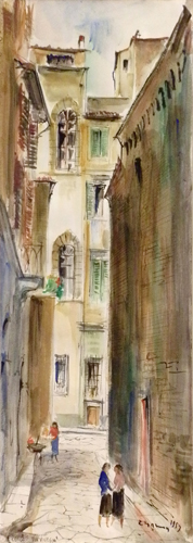 Art work by Rodolfo Marma Via Vinegia - watercolor paper