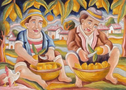 Quadro di Roberto Sguanci I limonari - olio cartone