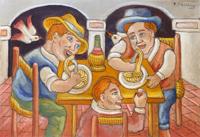 Quadro di Roberto Sguanci  Mangiatori di spaghetti