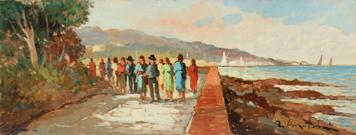Art work by Renzo Martini Passeggiata in riva al mare - oil hardboard