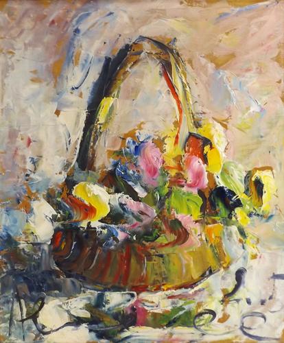 Quadro di Paolo Abrans Cesto di fiori - olio tavola