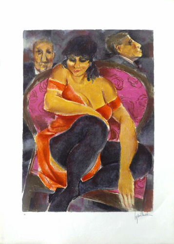 Art work by Remo Squillantini Figure - lithography paper