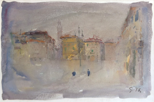 Art work by Gino Tili Piazza Santa Croce - watercolor paper