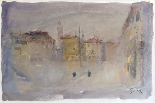 Quadro di Gino Tili Piazza Santa Croce - acquerello carta