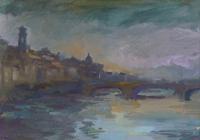 Quadro di Gino Tili  Lungarno da Ponte Vecchio