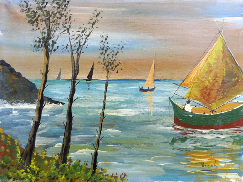 Art work by  Parziale Tramonto sul mare - oil canvas