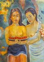 Quadro di Roberto Sguanci - Omaggio a Gauguin olio cartone