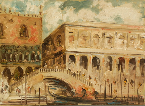 Artwork Ponte di Rialto by Emanuele Cappello, oil on canvas | FirenzeArt gallery italian painters