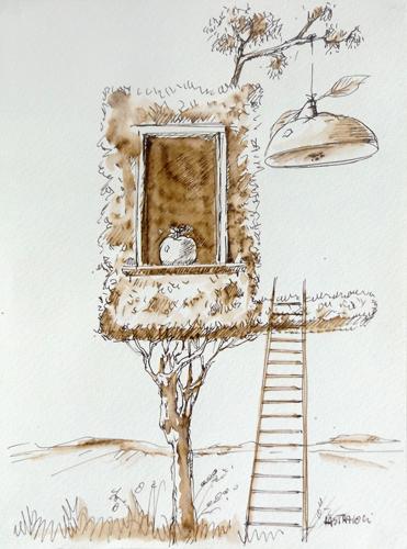 Art work by Franco Lastraioli La casa sull'albero - watercolor paper
