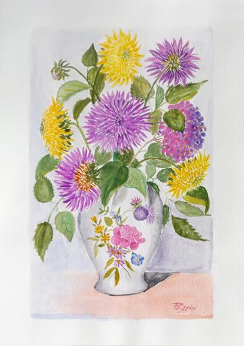 Art work by Giuliano Piazzini Vaso di fiori - watercolor paper