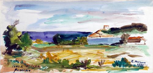 Quadro di Rodolfo Marma Procchio - Isola d'Elba - tempera carta