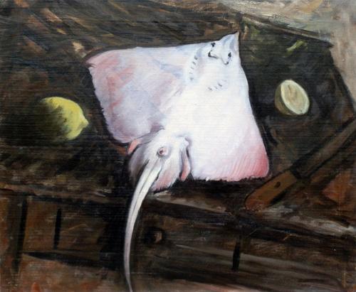 Quadro di Alberto Caligiani La razza - olio tela