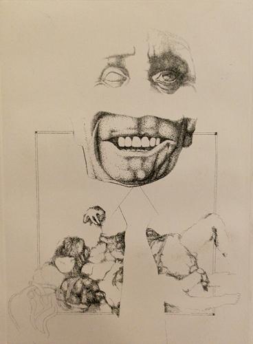 Quadro di Piero Tredici Il ghigno - litografia carta