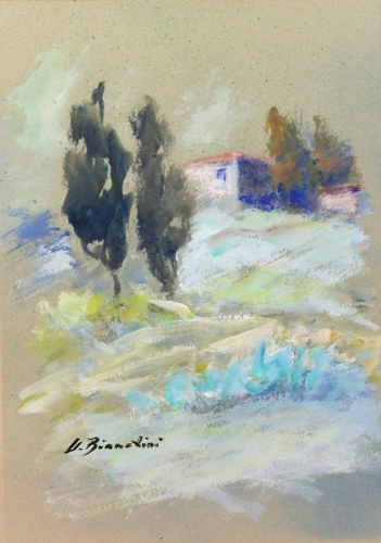 Art work by Umberto Bianchini Paesaggio - varnish paper